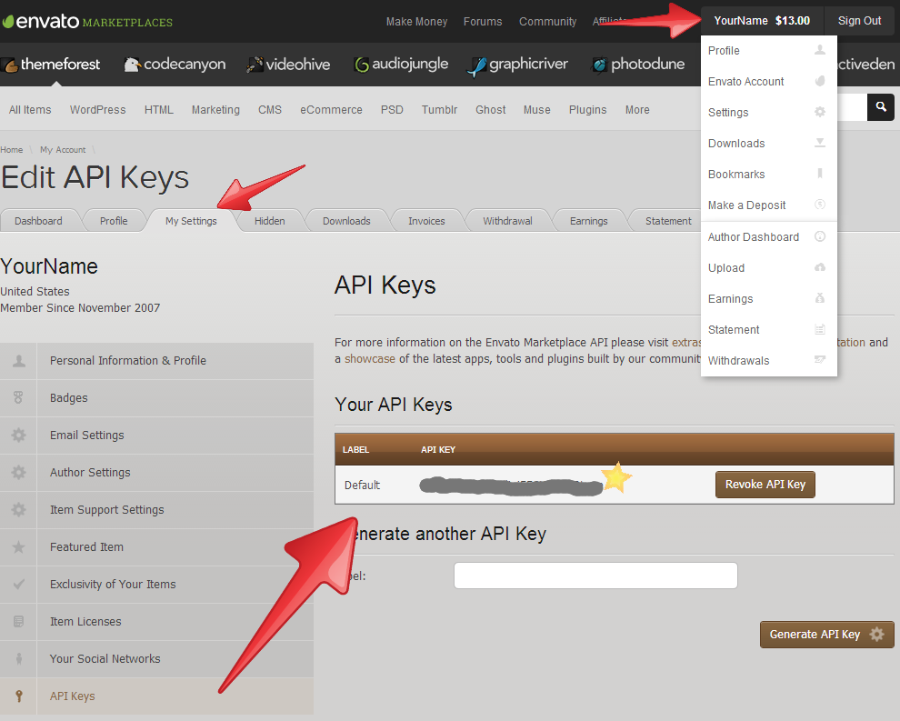 themeforest-API-Key
