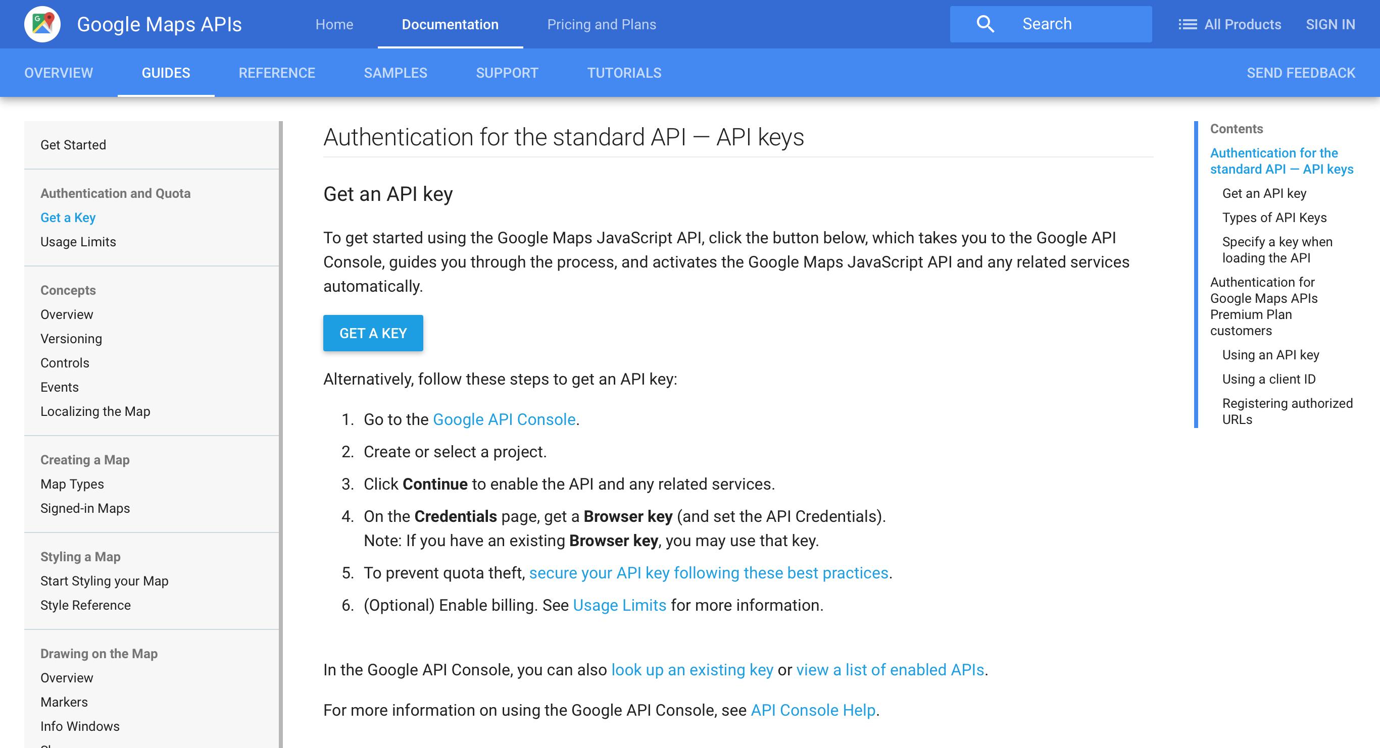 step. how to register a google maps api key – enfold theme documentation