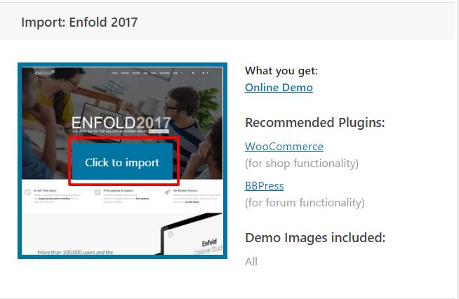 Import Demos – Enfold Documentation