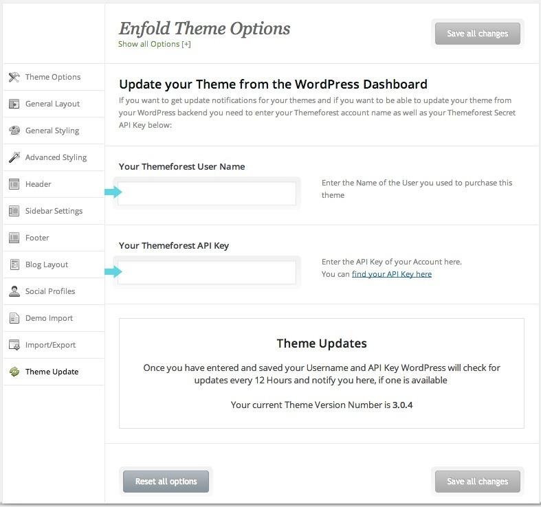 Enfold update screen