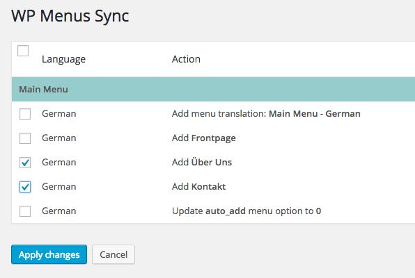 Confirm menu sync