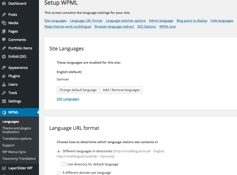 Language URL format
