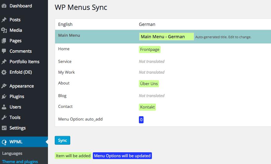 WP Menus Synch
