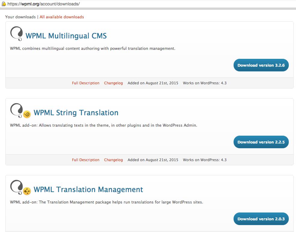 WPML download options