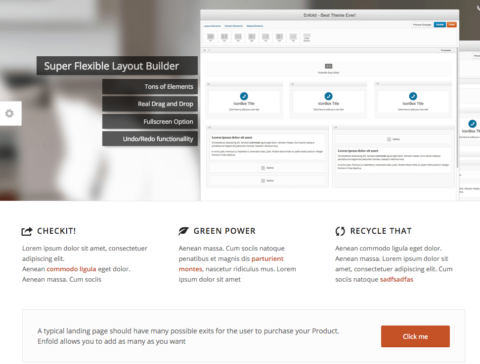 Enfold demo landing page above fold.