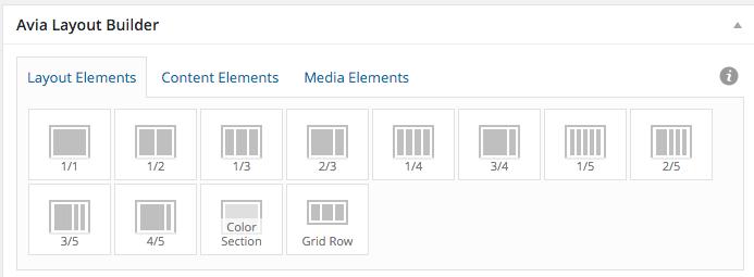 Layout elements screen