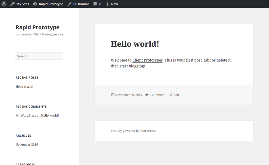 A WordPress rapid prototype